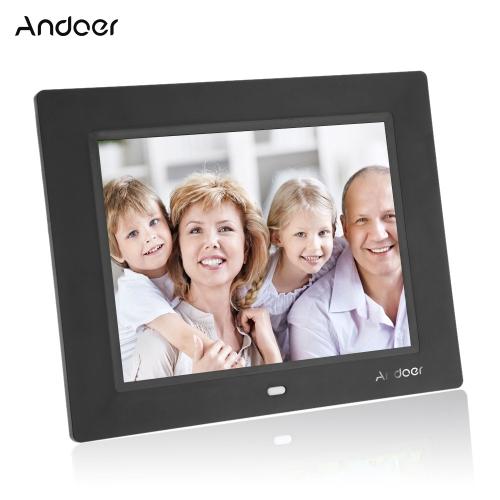 Andoer 8 '' Ultrathin HD TFT-LCD Cyfrowa ramka na zdjęcia Budzik MP3 MP4 Odtwarzacz filmów z pulpitem zdalnym