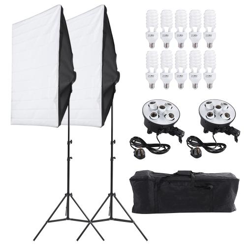 Andoer Photography Studio Portrait Produkt Oświetlenie Oświetlenie Namiot Kit Sprzęt fotograficzny wideo (2 * Softbox + 2 * 5in1 Light Socket + 10 * 45W Żarówka + 2 * Statyw stojak + 1 * Torba do przenoszenia) UK Plug 220V