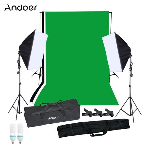 Andoer Photography Zestaw oświetleniowy Softbox z miejscem na studioPhotography Studio Portrait Product Light Oświetlenie Namiot Zestaw Photo Video Equipment (2 * 125W Bulb + 2 * Sofbox z pojedynczym gniazdem żarówki + 3 * Backdrop + Backdrop Stojak + 3 * Clamp + 1 * Torba na zakupy) UK Podłącz 220V