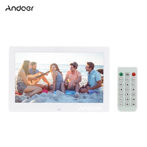 "Andoer 10.1 ""LCD Digital Photo Picture Frame Reloj de alarma MP3 MP4 Movie Player 1024 * 600 HD con control remoto"