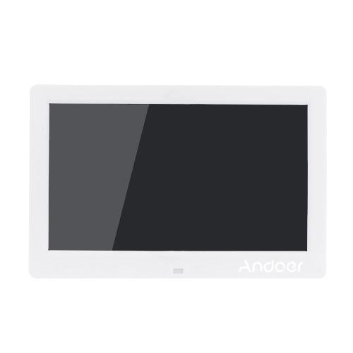 "Andoer 10.1 ""LCD Digital Photo Frame Alarm Clock MP3 MP4 Movie Player 1024 * 600 HD avec télécommande"