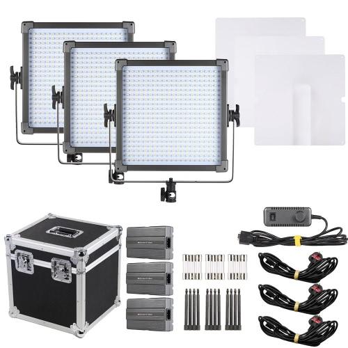 F&V K4000S 3-Light Kit 400pcs Beads LED Studio Film Video Light Dual Color 3200K-5600K Adjustable Color Temperature CRI85+ with Aluminium Alloy Case