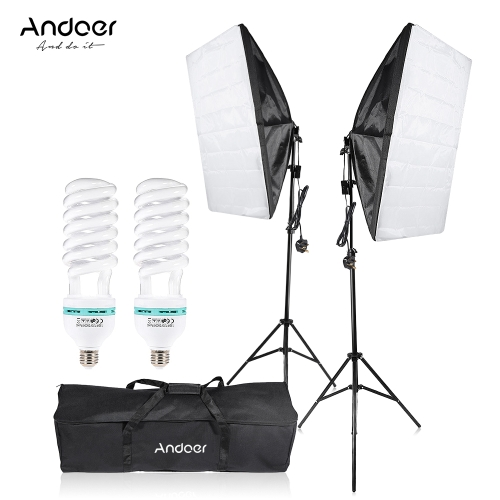 Andoer Photography Studio Cube Umbrella Softbox Light Lighting Tent Kit Photo Video Equipment 2 * 135W Bulb 2 * Tripod Stand 2 * Softbox 1 * Carrying Bag for Portrait Product UK Plug 220V