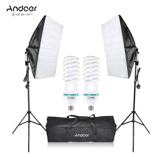 Andoer Photographie Studio Cube Parapluie Softbox Lumière Éclairage Tente Kit Photo Équipement Vidéo 2 * 135 W Ampoule 2 * Trépied Stand 2 * Softbox 1 * Sac De Transport pour Portrait Produit Royaume-Uni Plug 220 V