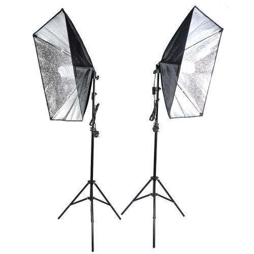 Andoer Photography Studio Cube Umbrella Softbox Light Lighting Carpa Kit Foto Video Equipo 2 * 135W Bombilla 2 * Trípode Soporte 2 * Softbox 1 * Bolsa de transporte para Portrait Product UK Plug 220V