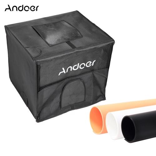 Andoer 60 * 55 * 55cm Składany Photography Studio LED Light Kit Namiot Softbox z 2 lekkich paneli 3 Kolor Backdrops zasilacz torba