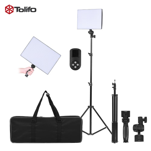Tolifo Phantom PT-650B Silm Dimmable Bi-color Temperature 3200K - 5600K 432pcs LED Panel Light Lamp Kit Set w/ Remote Control + Light Stand + Handle for Photography Studio Video
