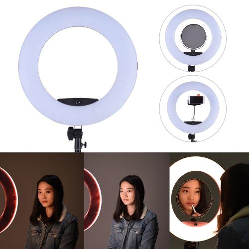 """FD-480II 17.7 """"/ 45cm 96W Dimmable Bi-color 3200-5500K Макро светодиодная видеокамера с подсветкой с ЖК-дисплеем Зеркальный зеркальный держатель смартфона для Canon Nikon Sony Камера Видеокамера Фотография Студия Live Broadcast Telecast Beauty Salon фото"""