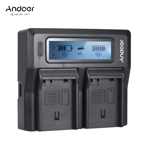 Andoer EN-EL15 Dwukanałowa ładowarka sieciowa z wyświetlaczem LCD dla Nikona D500 D610 D7000 D7100 D750 D800 D810 D7200