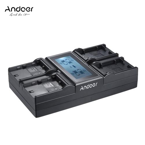 Andoer LP-E6 LP-E6N LP-E17 4-kanałowy cyfrowy aparat fotograficzny ładowarka w / Wyświetlacz LCD do Canon 5DIII 5DS 5DSR 6D 7DII 80D 70D 750D 760D EOS Rebel T6i T6s M3 M5 M6 800D 77D