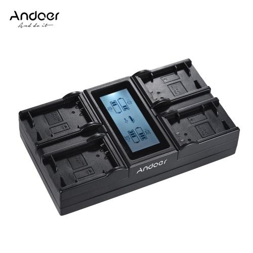 Andoer LP-E17 4-kanałowa ładowarka sieciowa z wyświetlaczem LCD dla Canon 750D 760D Rebel T6i T6s EOS M3 / M5 / M6 / 800D / 77D
