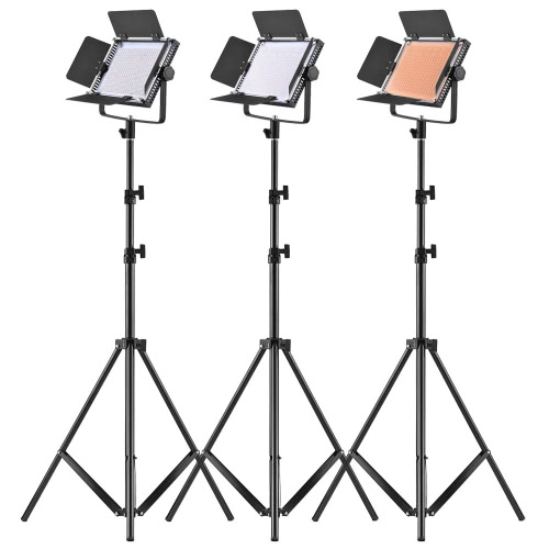 "LED-320A 3pcs LED Video Panel de luz 25W Dimmable 340pcs Beads con 197cm / 78 ""Metal Light Stand / U-Soporte / Granero Puerta / Filtro / Carry Bag para Canon Nikon Sony DSLR Cámara de videocámara Studio Foto Iluminación"