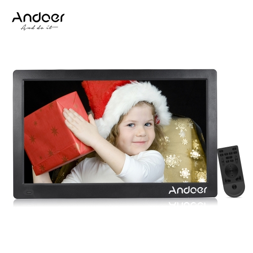 Andoer 15.6inch Digital Photo Frame 1920 * 1080 HD Advertising Machine Full View IPS Screen Support Random Play with Remote Christmas Gift