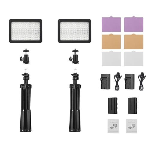 Комплект светодиодных видеоэкранов Andoer включает 2шт W160 5600K Моноцветный светодиодный светодиодный видеоролик + 6 шт. Фильтры цвета + 2 шт. Макс. 72 см Light Stand + 2шт 7.4V 2200mAh Совместимый аккумулятор и зарядное устройство для камер ILDC DSLR