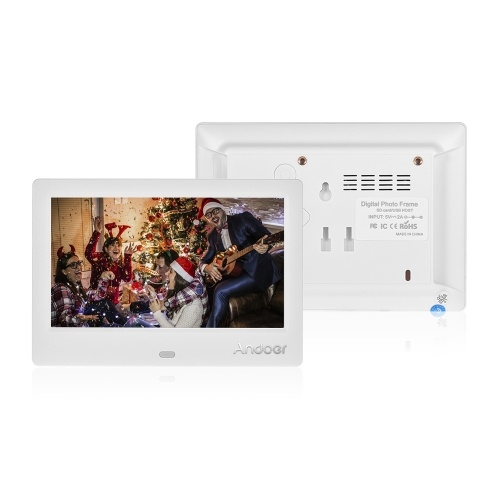 Andoer M705 7 Inches Compact Size LED Digital Photo Frame Desktop Album 800 * 480 16:9 Supports Music/ Video/ Clock/ Calendar Functions with Remote Control