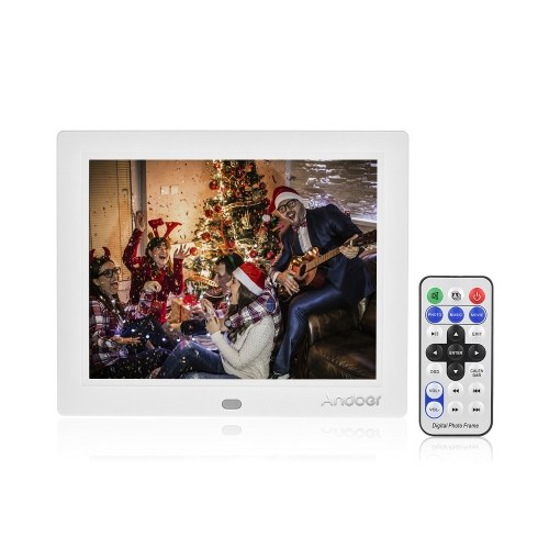 Andoer C805 8 Inches Compact LED Digital Photo Frame Desktop Album 1024 * 768 4:3 Supports Music/ Video/ Clock/ Calendar Functions with Remote Control
