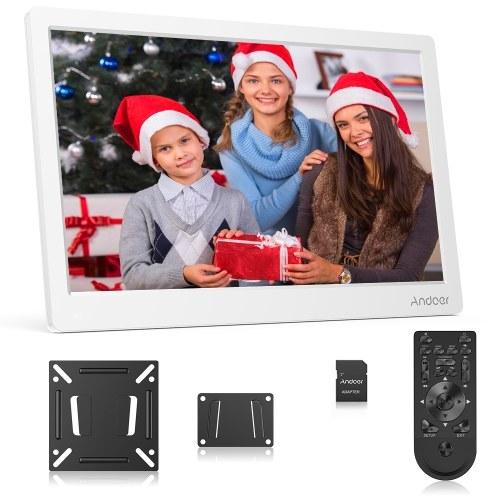 Andoer 17,3 Zoll Digitaler Bilderrahmen FHD 1920 * 1080 IPS Bildschirm Unterstützung Kalender / Uhr / MP3 / Fotos / 1080P Video Player mit 75 * 75 mm Standard VESA Wandhalterung & 8 GB Speicherkarte & Fernbedienung