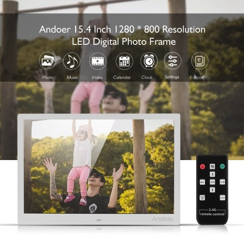 Andoer 15.4 Inch 1280 * 800 Resolution LED Digital Picture Photo Frame Photo Album 1080P HD Video Playing with 2.4G Wireless Remote Control Music Movie Clock Calendar E-Book Functions Gift for Family Friends Elder People
