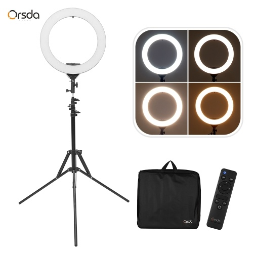 ORSDA ORB-18T 18 Inch LED Ring Light Studio Photography Fill-in Lamp 3200K-6500K 45W Dimmable Dual USB Charging Port