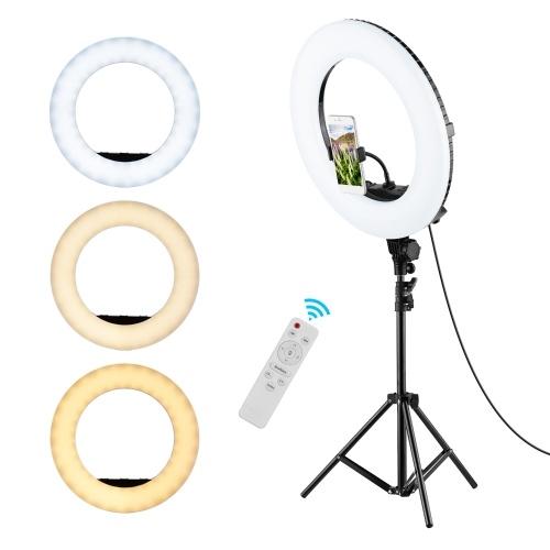 18 Inch LED Fill Ring Light Kit Dimmable 3200K-5500K 3 Cold Shoe Mounts