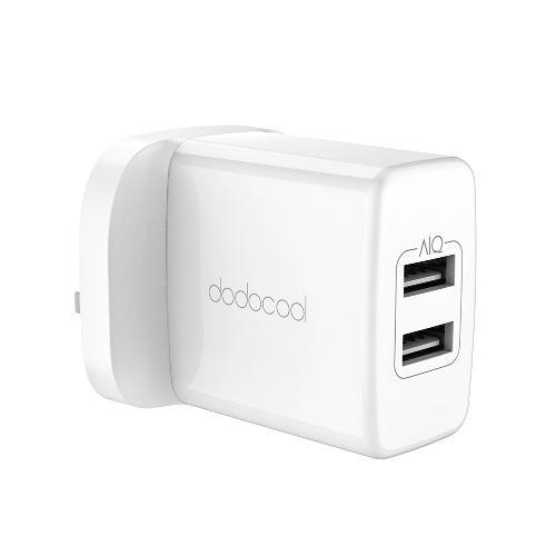 Dodocool 24W Carregador de parede USB de 2 portas Adaptador de energia de viagem Dispositivos alimentados por USB US Plug White