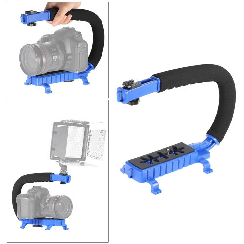 C-Shaped Video Camera Handheld Handle Grip Stabilizer Bracket Support System for Sony Canon Nikon DSLR Camera Camcorder DV LED Lights