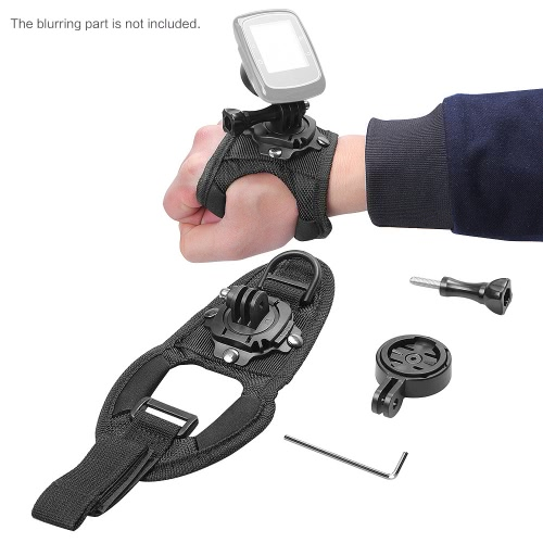 Andoer 360 Degree Rotatable Wrist Hand Strap Mount with Adapter Holder for Garmin Edge Cycle GPS 25 200 500 510 520 800 810 1000  Accessories for Gopro
