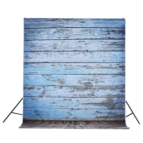 1.5 * 3m/4.9 * 9.8ft Video Studio Photo Backdrop Background Digital Printed Blue Classic Wall Wooden Floor Pattern for Teenager Adult Kid Children Portrait Photography