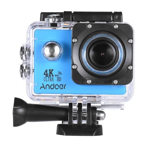 """Andoer AN4000 4K 30fps 16MP WiFi Câmera de ação de ação 1080P 60fps Full HD 4X Zoom Impermeável 40m tela LCD de 2 """"Suporte de lente grande angular de 170 ° Fotografia de drama em câmera lenta com controle remoto"""