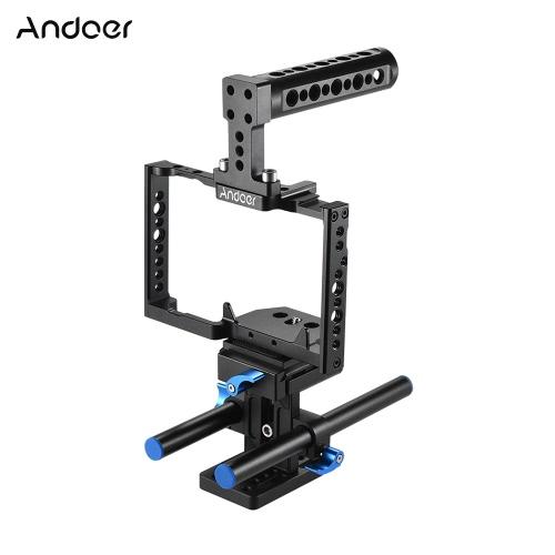 Andoer Aluminum Alloy Camera Cage + Najwyższa rękojeść + zestaw 15-karetkowy Rod Baseplate Kit Film wideo Stabilizator obrazu dla kamery Panasonic GH5