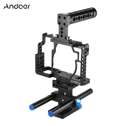 Andoer Aluminum Alloy Camera Cage Video Film Movie Making Stabilizer with Cold Shoe Mount for Sony A7/ A7R/ A7S Camera