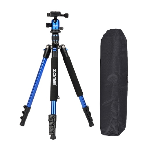ZOMEI Q555 63 Inch Lightweight Aluminum Alloy Travel Portable Camera Tripod with Ball Head/ Quick Release Plate/ Carry Bag for Canon Nikon Sony DSLR ILDC Cameras