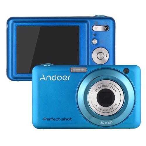 Andoer 20MP 720P HD цифровая видеокамера видеокамеры с 2шт аккумуляторные батареи 8X оптический и 4-кратный зум Anti-Shake 2,7-дюймовый ЖК-экран Дети рождественский подарок фото