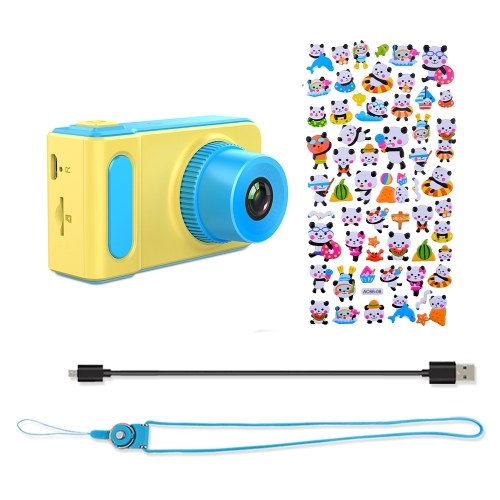 Mini Lovely Kids Digital Video Camera 2.0 Inch Display Built-in Lithium Battery with Cartoon Stickers Birthday Festival Gift Commencement Day Present for Children Boys Girls