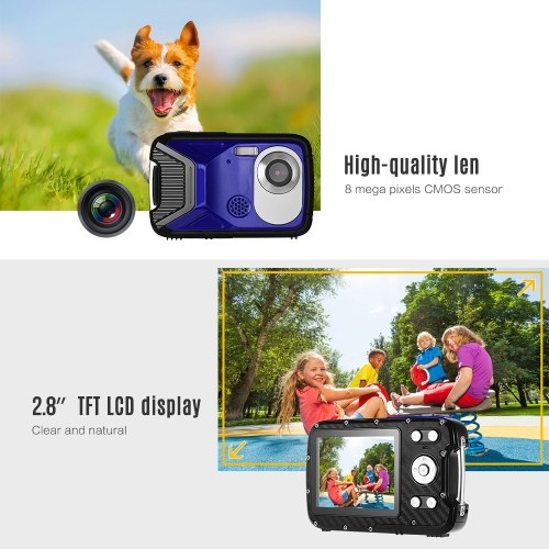 Andoer 1080P FHD Digital Camera 8 Mega Pixels CMOS 2.8 Inch LCD Display 8X Zoom 5M Waterproof Anti-shake Face Detect With Rechargeable Lithium Battery