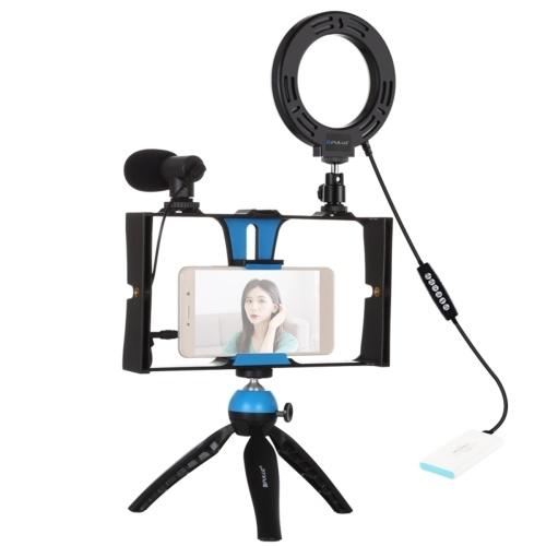 PULUZ 5 in 1 Fill Light Set RGBW Selfie Ring Light Microphone Tripod Smartphone Vlogging Live Broadcast