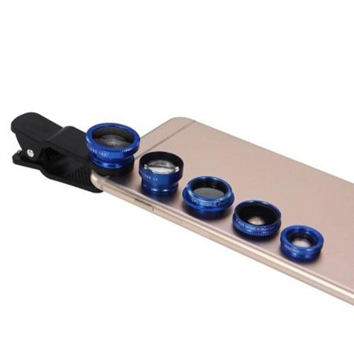 Kit d'objectif d'appareil photo pour smartphone 5 en 1 avec objectif grand angle et macro 0,67X + objectif Fisheye 180 ° + téléobjectif 2X + objectif CPL avec sac de transport universel