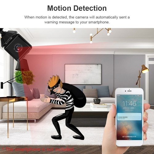 1080P High-Definition Mini Portable Camera Smart WiFi Wireless Security Camera Night Vision Motion Detection with APP Function Magnetic Design Base Bracket  for Home Security Outdoor Exercising Kids Monitoring Pets Monitoring Shop Watching