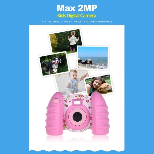 Kids Digital Camera 2MP Photo HD Video Sport Camcorder DV with 1.44 Inch TFT Screen 0.3MP CMOS Sensor for Boy Girl Kids Birthday Holiday Toy Gift Pink