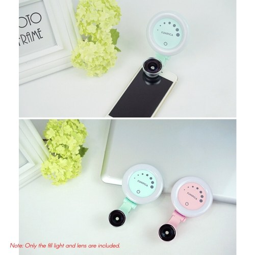 Andoer Portable Phone Camera Lens Rechargeable Selfie Ring Light Fill-in Light Lamp with Undistorted Wide Angle Macro Lens 60pcs LED Beads 7 Adjustable Brightness Fill Light for iPhone X/Xs/8P Huawei Samsung Xiaomi Smartphones