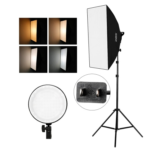 Andoer Studio Photography Softbox LED Light Kit Including 20*28 Inches Softboxes 45W Bi-color Temperature 2700K/5500K Dimmable LED Lights 2 Meters Light Stands Carry Bag