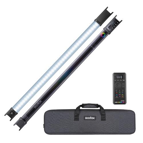 Полноцветная трубка RGB Godox TL60 2500K-6500K CRI 96 TLCL 98 Accurate Color 39 Световые эффекты Встроенная батарея Поддерживает встроенные кнопки / APP / Remote / DMX-управление с сумкой для переноски Адаптер питания для пульта дистанционного управления, комплект из 2 ламп