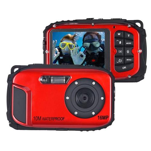 """16MP 2,7 """"LCD Wodoszczelna kamera wideo Kamera Mini DV Podwodny Maks. 10 M Nurek 8X Cyfrowy Zbliżenie Wykrywania Twarzy"""