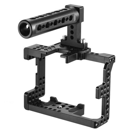 Andoer Protective Video Camera Klatka stabilizator Protector w / Top Handle / 15mm Rod Rail / Baseplate do Sony A7II A7RII A7SII ILDC Mirrorless kamera