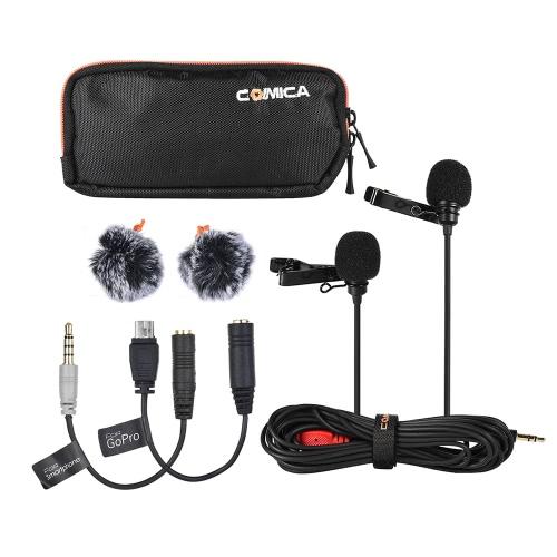 Comica CVM-D02 2.5m / 8.2ft Dwugłowicowy mikrofon pojemnościowy Lavalier