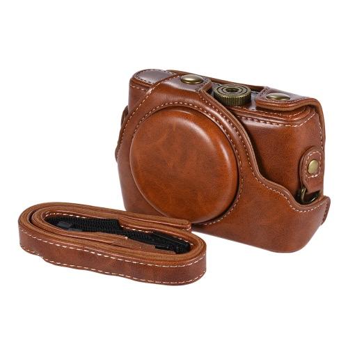 Wysokiej jakości torba na aparat fotograficzny PU na torbie Pokrowiec na cały obiektyw z regulowanym paskiem na szyję dla kamer Sony RX100M2 / RX100M3 / RX100M4 / RX100M5