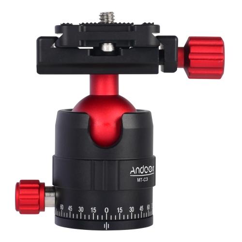 Andoer MT-C1 Kompaktowy rozmiar głowicy z trzema głowicami obrotowymi Obrotowy stop 360 ° z płytą Quick Release Plate