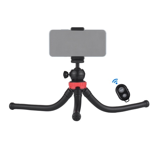 Flexible Octopus Tripod with 360° Ball Head Phone Holder Phone Remote Controller for GoPro Heor 6/5/4/3+/3 Yi Action Camera for Canon Nikon Sony DSLR for iPhone Samsung HUAWEI 57-87mm Width Smartphone Max. Load 1.2kg