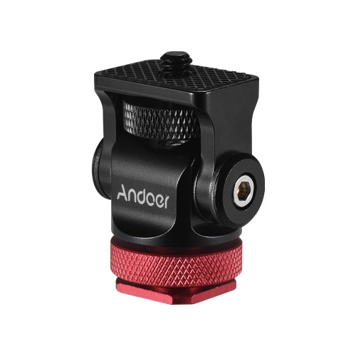 Andoer 180° Rotary Mini Ball Head Ballhead Hot Flash Shoe Mount Adapter 1/4 Inch Screw with Wrench for DSLR Camera Microphone LED Video Light Monitor Tripod Monopod