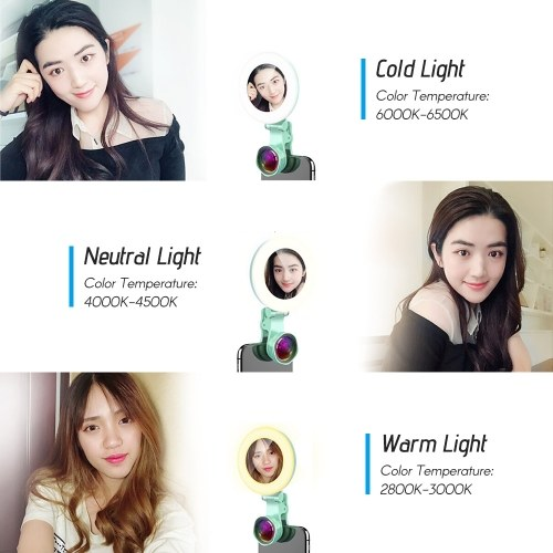 Andoer Rechargeable Selfie Ring Fill-in Light Lamp Portable Phone Camera Lens with Makeup Mirror Undistorted Wide Angle Macro Lens 60pcs LED Beads Adjustable Brightness Fill Light for iPhone X/Xs/8P Huawei Samsung Xiaomi Smartphones Tablets